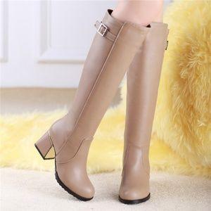 Shoes - NWT Over Knee Brown Cream Tan Fleece Heels Boots